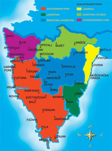 Karta Istarskih govornih područja